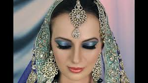 bridal makeup tutorial blue turquoise with subtle glitter indian