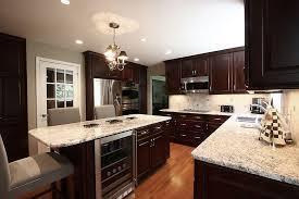 eat in kitchen island designs low hanging crystal chandelier shade plain beige backsplash modern kitchen island