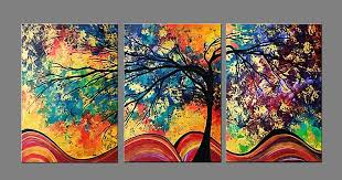 colorful tree modern canvas art abstract oil painting wall art prints with stretched frame ready on colorful wall art canvas with colorful tree modern canvas art abstract oil painting wall art
