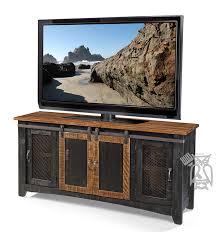 solid pine wood pueblo 70 tv stand with sliding doors in pueblo black finish