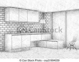 window pencil drawing. pencil sketch of modern kitchen interior with big window - csp31694039 drawing