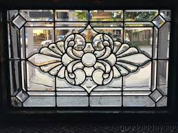wonderful antique 1890 s zipper cut beveled glass transom window 36 by 24