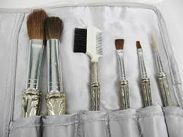 vine makeup brushes with silver plated handles c 1960s property room