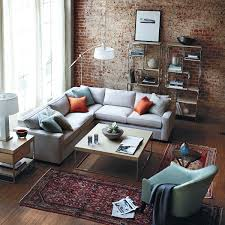 the brick living room furniture. Living Room:Sofa And Brick Walls Decorated In Rustic Room Interior Design Idea Fashionable The Furniture