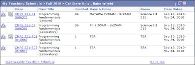 My Weekly Schedule My Teaching Schedule California State University Bakersfield