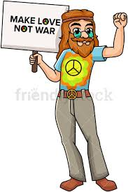 Hippie Holding Make Love Not War Sign Cartoon Vector Clipart - FriendlyStock
