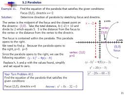 find the equation of the parabola that satisfies the given conditions