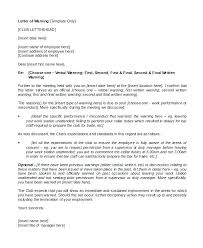Disciplinary Formal Warning Letter Template Verbal To Employee