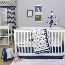 details about sail away navy blue white nautical anchor baby boy crib bedding 11 piece set