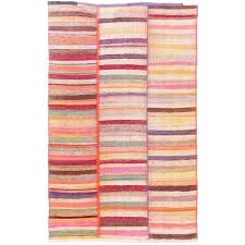 colorful striped cotton kilim flat weave rug for
