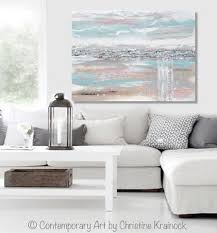 ... ORIGINAL Art Abstract Painting Landscape Blue Grey Pink Taupe Textured  Minimalist LARGE 36x48