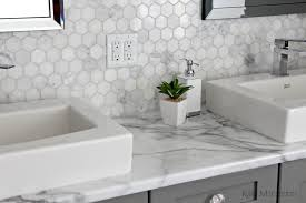 formica 180fx calacatta marble laminate countertop with hexagon marble accent tile and benjamin moore chelsea gray