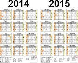 2014 2015 Calendar Free Printable Two Year Pdf Calendars