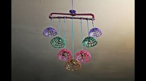 Diy Wind Chimes Diy Wind Chime Wall Hanging With Dress Hanger And Hot Glue Youtube