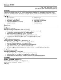 Resume Examples For Caregivers Examples Of Resumes