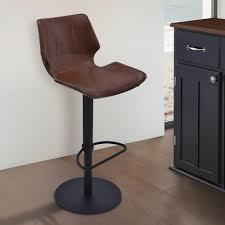 brown faux leather and black metal finish adjustable adjustable swivel bar stools8