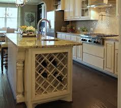 Built-In Lattice Wine Rack in kitchen island in bone white with black glaze
