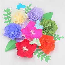 Tissue Paper Flower Decor Giant Crepe Paper Flowers Backdrop Leaves Butterflies For Wedding