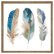 on brown framed wall art with framed watercolor feathers wall art