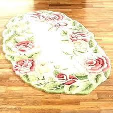 P Oval Bath Rugs Bathroom Rug Floral  White