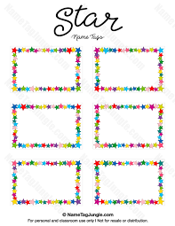 free printable star name tags the template can also be used for creating items like