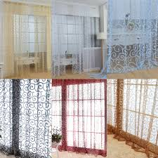 Solid Sweet Floral Tulle Voile Door Window Curtains Drape Sheer ...