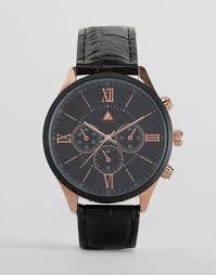 men s watches digital designer watches asos asos watch in black rose gold r numerals