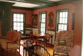 Historical Schumacher wall coverings completed the authentic Salt Box style  interior which reflects the old New England look of the 1800's in early  America.