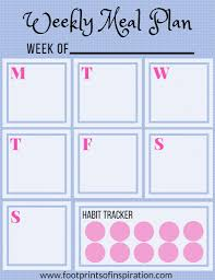 Weekly Meal Planning For One Free Weekly Meal Planner Printable Footprints Of Inspiration