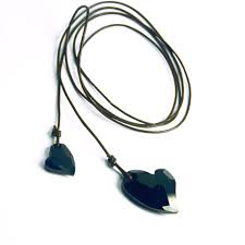 black heart leather lariat necklace