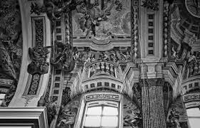 grayscale photo of sistine chapel ceiling painting preview