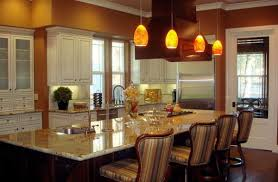 pendant kitchen lighting. luma pendant lights with an orange hue complement the rest of kitchen lighting