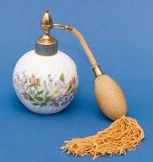 Atomiser Design Aynsley Wild Tudor Perfume Bottle Spray Atomiser Fine English Bone China Floral Design Gold Tassel