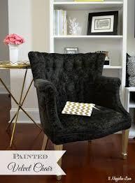 painted fabric black velvet thrift chair