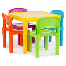 table chairs. tot tutors plastic table and 4 chairs set