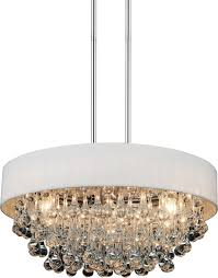 6 light drum shade chandelier with chrome finish