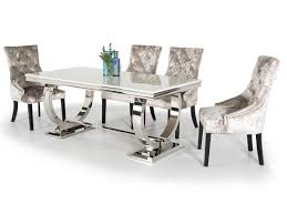 ariana marble stainless steel dining table cm inc  chairs