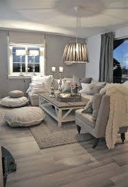 chic living room. Neutral Living Room | Grey Walls Calming Colors Furniture Wood Coffee Table Floor Area Rug Farmhouse Windows Shabby Chic C