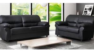 3 2 faux leather sofa set in black colour
