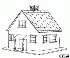 Klein Huis Met Kleine Veranda Aan De Voordeur Kleurplaat Thema