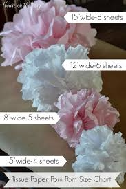 How To Make Tissue Paper Balls Decorations Here's how to Make Tissue Paper PomPom Size Chart from House on 83
