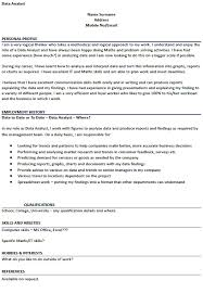 Data Analyst Cv Example Cover Letter And Cv Examples