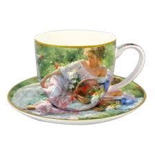"""<b>Чашка с блюдцем</b> """"<b>Девушка</b> с корзиной цветов"""", в подарочной ..."""