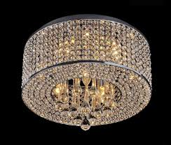 heaven 7 light flush mount chrome crystal chandelier