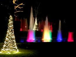 colorful fountain show at longwood gardens holiday lights