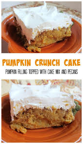 pumpkin crunch cake pumpkin filling topped with cake mix and pecans frost
