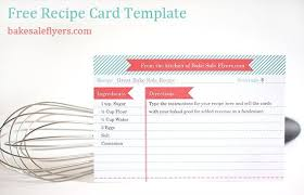 Free Recipe Card Template You Can Type In Your Recipe In Microsoft