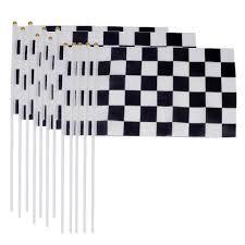 NUOLUX <b>12pcs</b> Racing Flag <b>Handheld</b> Flag Chequered Flag Black ...
