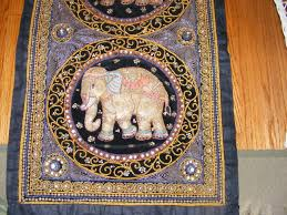 vintage kalaga tapestry 2 elephant thailand burma beads sequins wall hanging