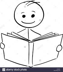 cartoon stick man ilration of smiling boy or man reading a book